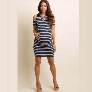 Navy Striped Crisscross Shoulder Maternity Dress